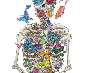 flowers, butterfly, and skull image