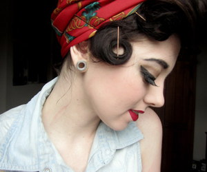 hair, red lips, and vintage image