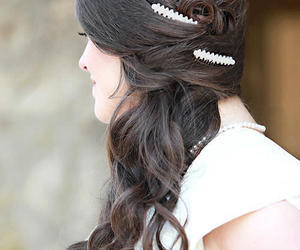 bride, hairstyle, and wedding dress image