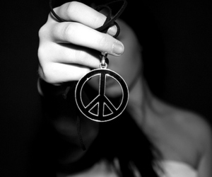 peace, girl, and black and white image