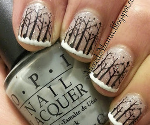nail art, snow, and trees image