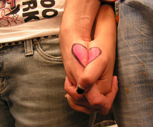 boy and girl, couple, and heart image
