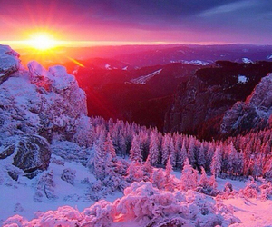 snow, mountain, and sunset image