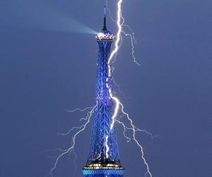 paris, lightning, and eiffel tower image