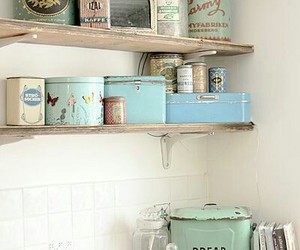 canisters, shelves, and decor image