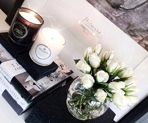 candle, flowers, and white image