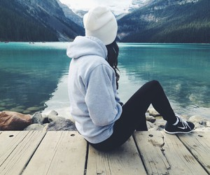 girl, mountains, and lake image