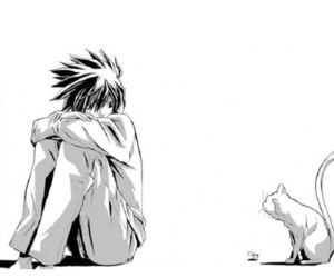 L, death note, and cat image