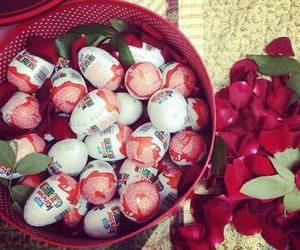 kinder, chocolate, and rose image