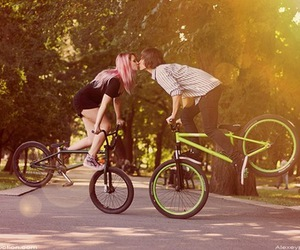 love, kiss, and bike image