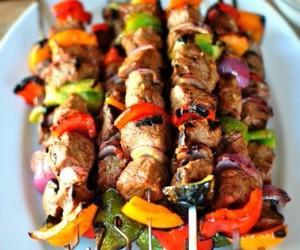food, meat, and kebab image