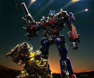 background, optimus prime, and bumblebee image