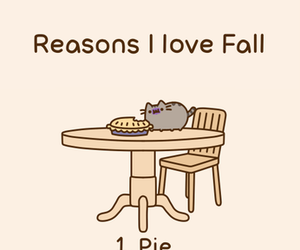 cat, fall, and pie image