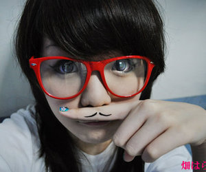 mustache, girl, and cute image