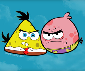 angry birds, spongebob, and patrick image