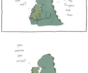 cute, dinosaur, and love image