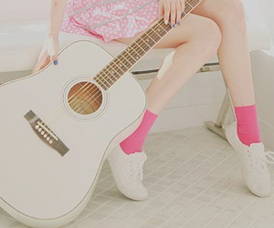 guitar, girl, and pink image