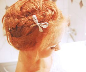bow, braid, and red hair image