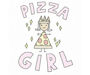 pizza, girl, and overlay image