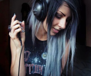 hair, music, and blue image