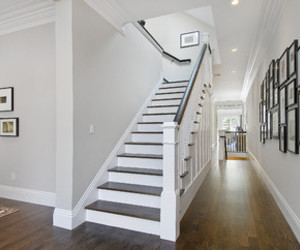 hallway, home, and staircase image