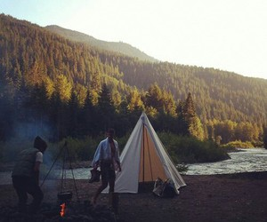 camp, camping, and fire image