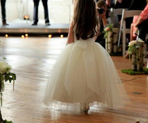 dress, wedding, and flower girl image