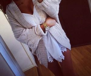 cardigan, dress, and fall image