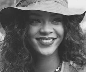 rihanna, smile, and black and white image