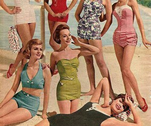 vintage, beach, and girl image