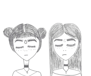 girl, grunge, and drawing image