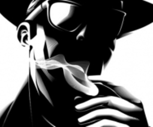 black and white, smoke, and hat image