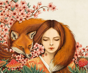 art, fox, and girl image