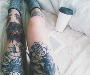 tattoo, legs, and coffee image
