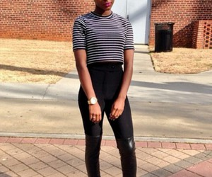 black girl, hair, and stripped shirt image