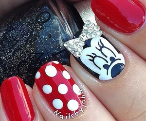 nails, red, and minnie image