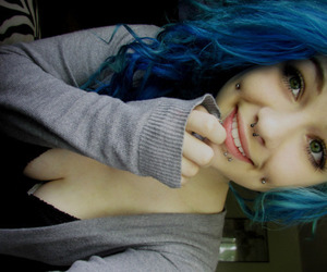 girl, piercing, and blue hair image