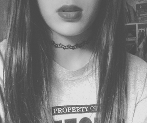 black and white, choker, and grunge image