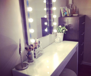 desk, makeup, and mirror image