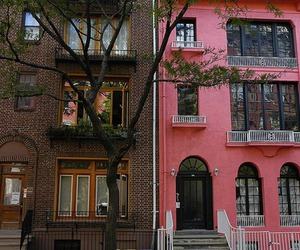 house, pink, and building image