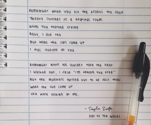 Taylor Swift, Lyrics, and out of the woods image
