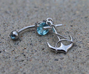 anchor, belly button ring, and blue image