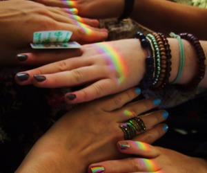 rainbow, friends, and hands image