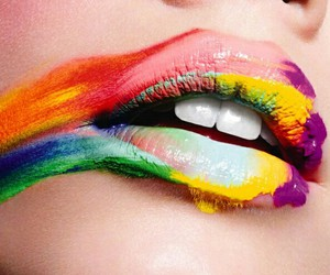 lips, colors, and rainbow image