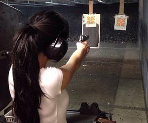 black hair, long hair, and gun image