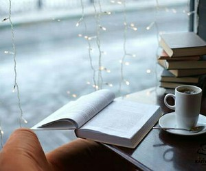 coffee cup, book and coffee, and rainy day image