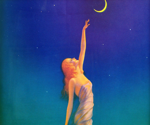 girl, moon, and painting image