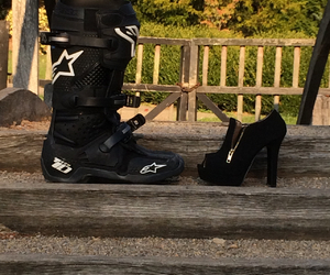 black heels, boots, and boy image