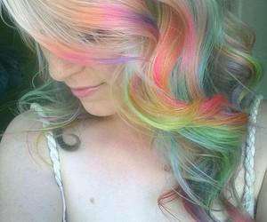 hair, rainbow, and style image