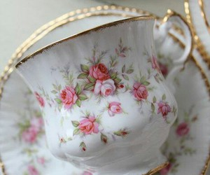 crockery, floral, and vintage china image